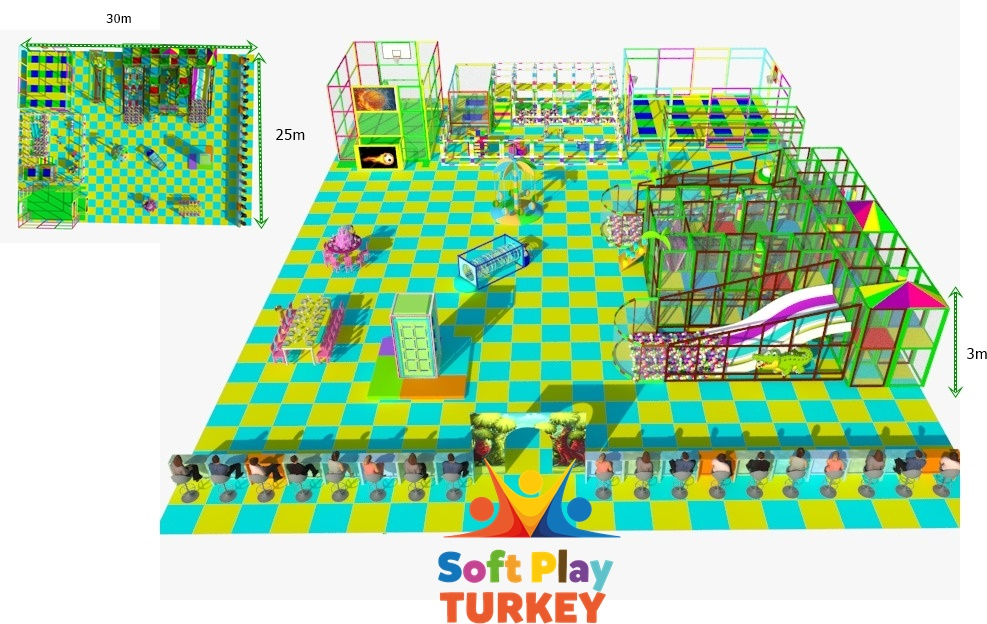 30×25 Soft play, ball pool, trampoline, climbing wall
